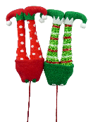 Plush Elf Legs Picks 2 Asst Rd Gn W5Xh14.6
