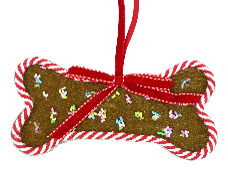 Orn Dog Bone Sprinkle Gingerbread Cookie H3.6