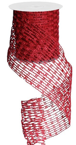 "4""X10YD JUTE MESH RIBBON RED"