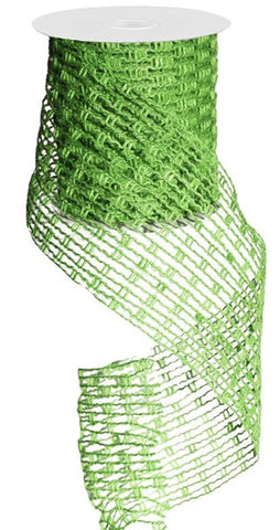 "4""X10YD JUTE MESH RIBBON LIME GREEN"