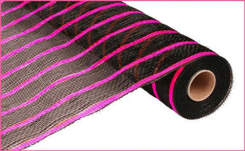 "21"" BLACK WITH FUCHSIA STRIPES MESH"