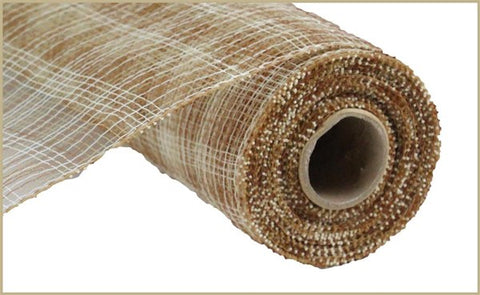 "21""X10YD MULTI STRIPE MESH IVORY/BROWN/NATURAL"