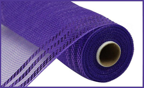"10.25""X10YD BORDER STRIPE METALLIC MESH PURPLE W/PURPLE FOIL"