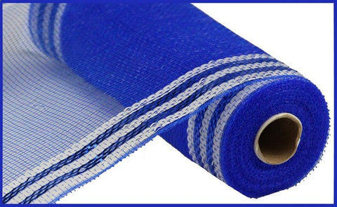 "10.25""X10YD BORDER STRIPE METALLIC MESH ROYAL BLUE/WHITE"