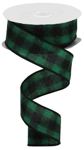 "1.5""X10yd Fuzzy Flannel Check GREEN/BLK"