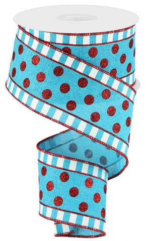 "2.5""X10yd Glitter Stripes And Dots TURQUOISE/RED/WHITE"