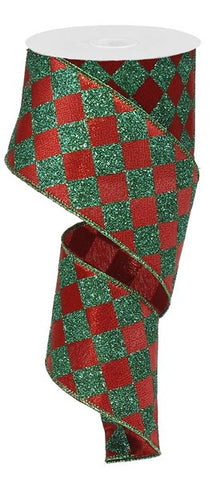 "2.5""X10yd Diamond Check RED/GREEN GLITTER"