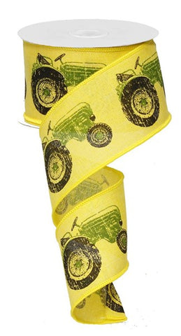 "2.5""X10yd Green Tractor On Royal Burlap on Yellow"