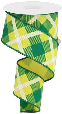 "2.5""X10YD PRINTED PLAID ON ROYAL YELLOW/GREEN/WHITE"