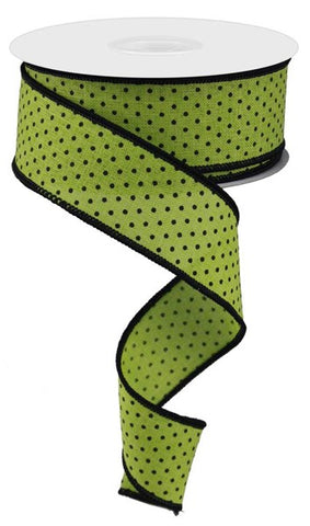 1.5X10YD RASIED SWISS DOTS ON LIME GREEN/BLK