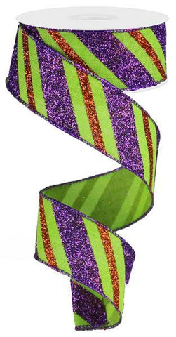 1.5X10 GLITTER STRIPE LINEN LIME/PURPLE/ORANGE