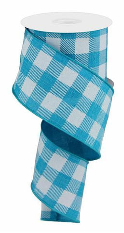 2.5X10 STRIPED CHECK LINEN TURQUOISE/WHITE