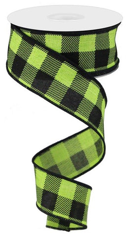 "1.5""X10yd Check On Royal GREEN/BLK"