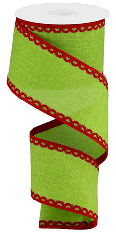 "2.5""X10yd Royal Burlap LIME/RED"