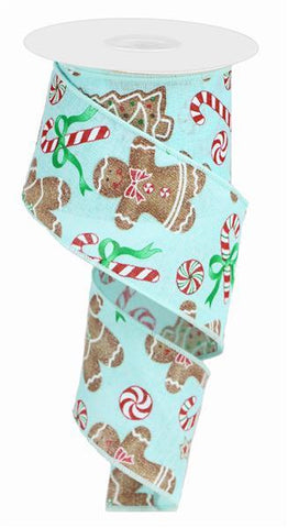 2.5X10 GINGERBREAD W/ CANDY LINEN ICE BLUE/RED/EMERALD/BROWN