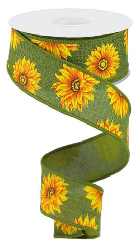 "1.5""X10YD MULTI SUNFLOWERS ON GREEN"