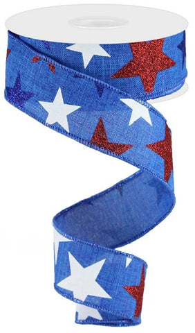 "1.5""X10yd Star On Royal  Royal Blue/Red/White/Navy"