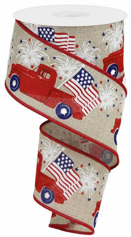 "2.5""X10YD PATRIOTIC TRUCK ON ROYAL NATURAL/RED/BLUE"
