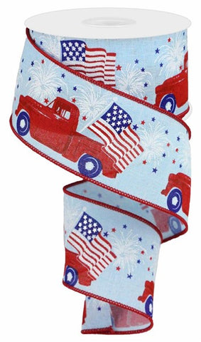 "2.5""X10YD PATRIOTIC TRUCK ON ROYAL PALE BLUE/RED/WHITE"