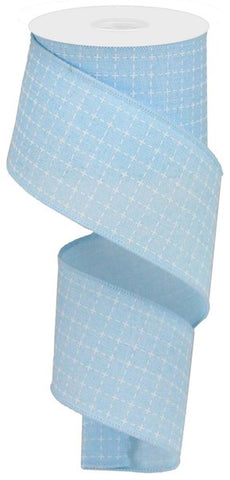 "2.5""X100ft Raised Stitched Squares/Royal Pale Blue/White"