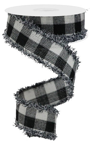 "1.5""X10YD WOVEN FLANNEL CHECK WHITE/BLACK"