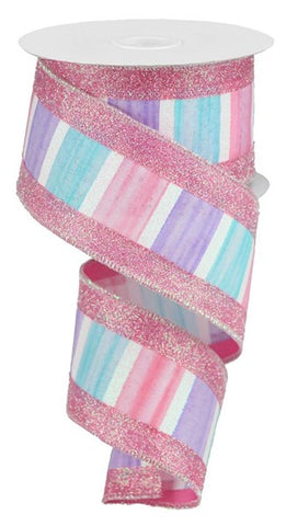"2.5""X10yd 3-In-1 Watercolor/Glitter Blue/Pink/Lav/White"