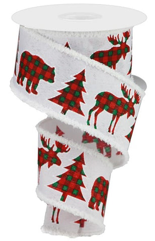 "2.5""X10YD CHECK/BEAR/DEER/TREE/DRIFT WHITE"