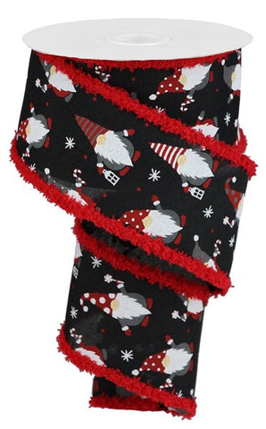 "2.5""X10YD CHRISTMAS GNOMES ON ROYAL DRIFT BLK/RED/WHITE"