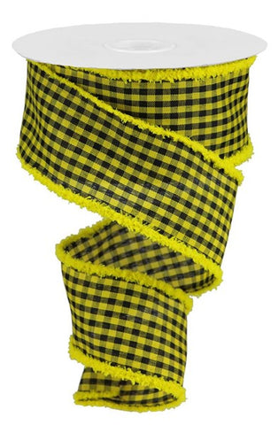 "2.5""X10YD WOVEN GINGHAM CHECK/DRIFT YELLOW/BLK"