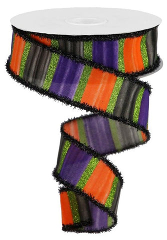 "1.5""X10yd Watercolor Stripes/Tinsel Purple/Black/Orange/Lime"