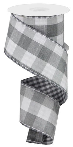 "2.5""X10yd Large/Small Check Grey/White"