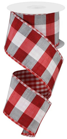 "2.5""X10yd Large/Small Check Red/White"