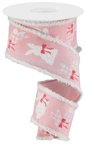 "2.5""X10yd Bunnies On Royal/Drift Pink/White/Pink"
