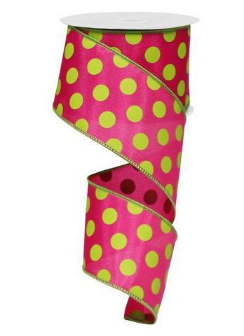 MEDIUM MULTI DOTS HOT PINK AND LIME 2.5X10