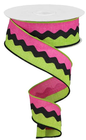 "1.5""X10yd 2-In-1 Ricrac On Royal Burlap Hot Pink/Lime"