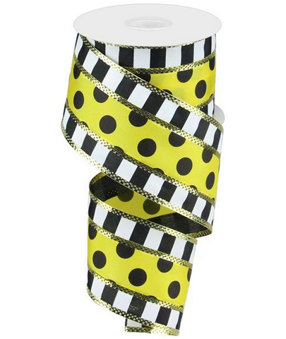 BLACK DOT/YELLOW STRIPE 2.50 X 10