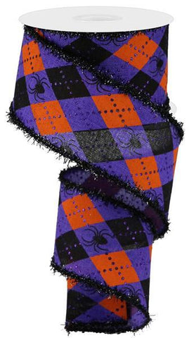 2.5X10 ARGYLE SPIDERS LINEN PURPLE/ORANGE/BLACK ON DRIFT