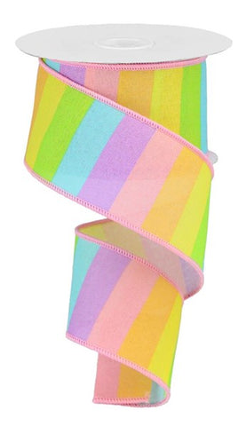 "2.5""X10YD HORIZONTAL RAINBOW ON ROYAL PASTEL"