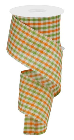 "2.5""X10yd Woven Gingham Check orange/green/cream"