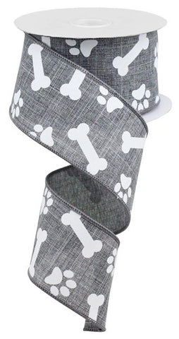 "2.5""X10YD PAW PRINTS/BONES ON ROYAL GREY/WHITE"