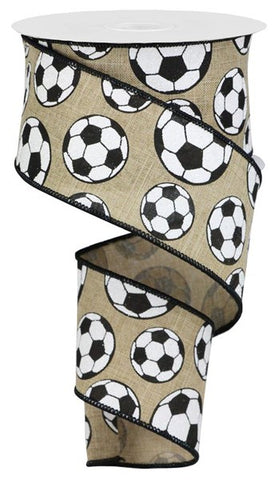 "2.5""X10YD GLITTER SOCCER BALL/ROYAL LT BEIGE/BLACK"