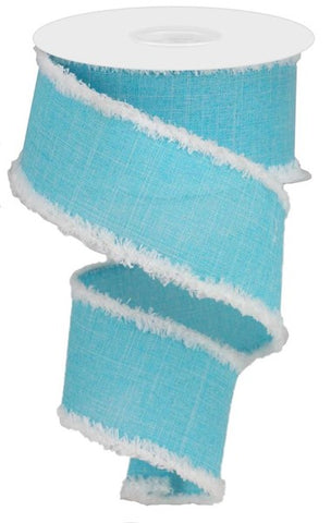 "2.5""X10yd Royal/Chenille Edge ICE BLUE/WHITE"