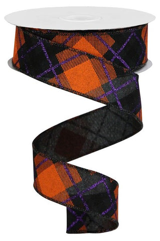 "1.5""X10YD GLITTER PLAID ON ROYAL BLACK/PURPLE/ORANGE"
