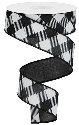 "1.5""X10YD DIAGONAL CHECK ON ROYAL BLACK/WHITE"