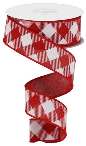 "1.5""X10YD DIAGONAL CHECK ON ROYAL RED/WHITE"