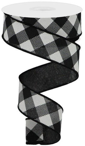 "1.5""X10yd Diagonal Check -Black/White"