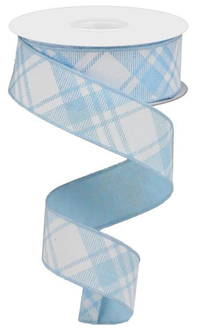"1.5""X10YD DIAGONAL CHECK PALE BLUE/WHITE"