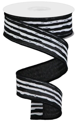 "1.5""X10YD IRREGULAR STRIPES ON ROYAL BLK/WHITE"