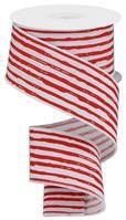 "2.5""X10YD IRREGULAR STRIPES WHITE WITH RED"