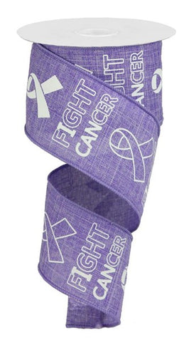 "2.5""X10YD FIGHT CANCER ON ROYAL LAVENDER/WHITE"